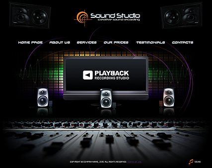 The screenshot of the Recording Studio web template