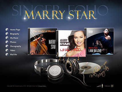 The screenshot of the Singer Folio website template