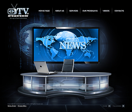 TV Station Video website template - to buy online - Tonytemplates