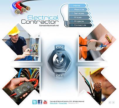 Electrical contractor website templates home page screenshot