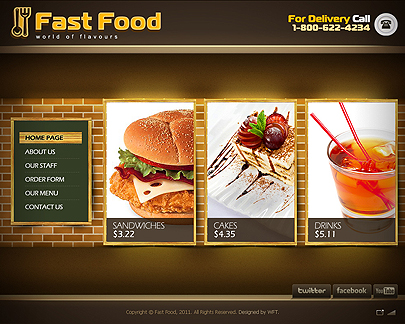 Fast food web template easy flash to buy online for Cuisine website