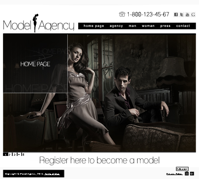 Model agency website template's screenshot