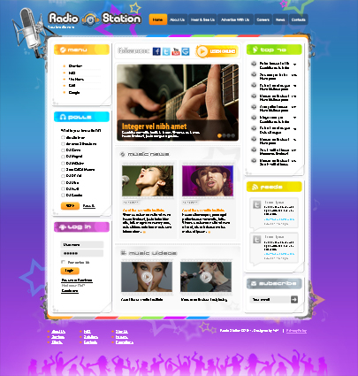 The main page of the web theme Radio Station Joomla