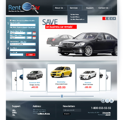the image of Rent a Car web template's main page