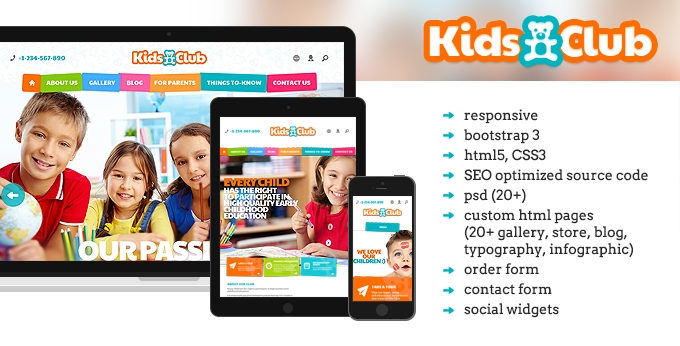 Kids Club website template image