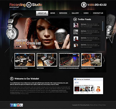 The screenshot image of the Recording Studio Html5 template