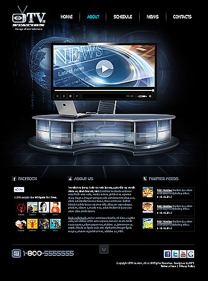 TV Station Html5 web theme's image