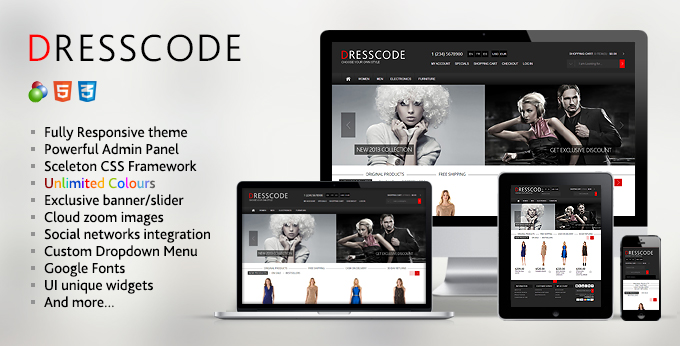 Dresscode osCommerce website template's image