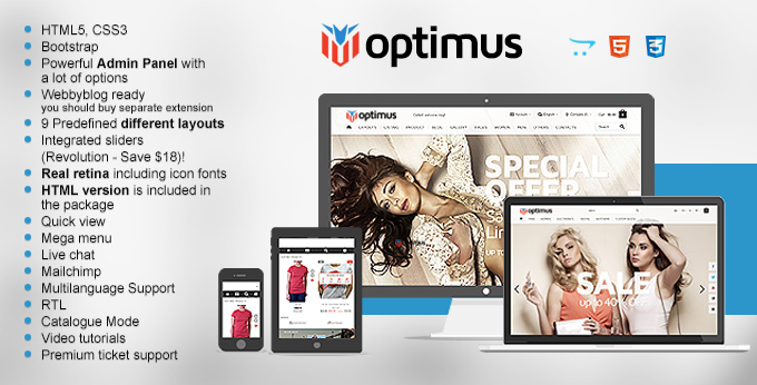 Optimus Opencart website theme image
