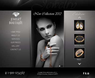 Jewerly boutique web template's home page screenshot