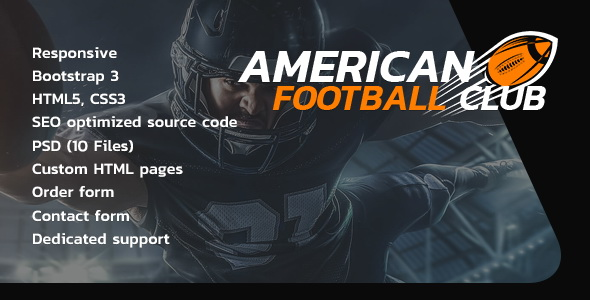 American Football html5 website template