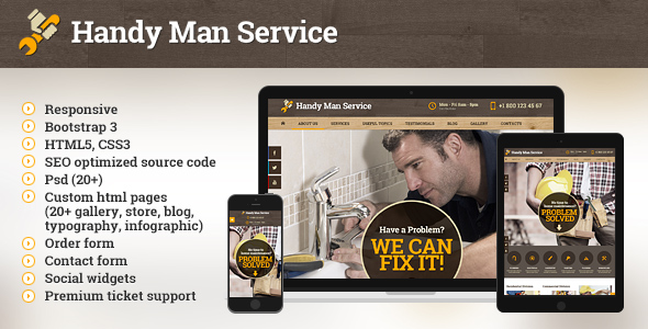The main page of Handy Man Services website template