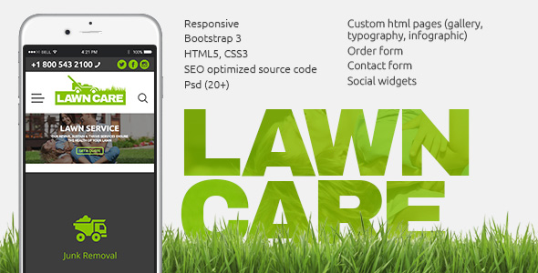 Lawn Care Services website template image