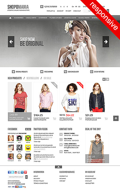 Shopomania magento theme main page
