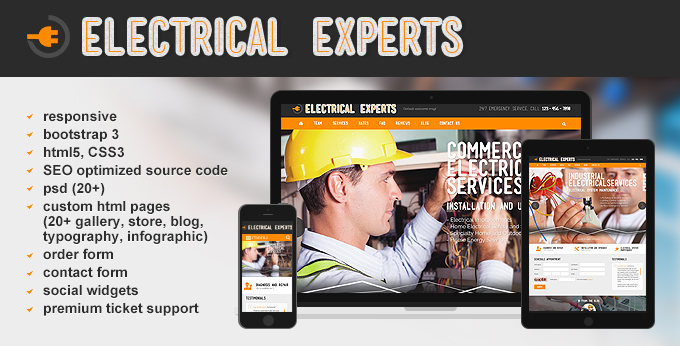 Electrical Experts website template's preview