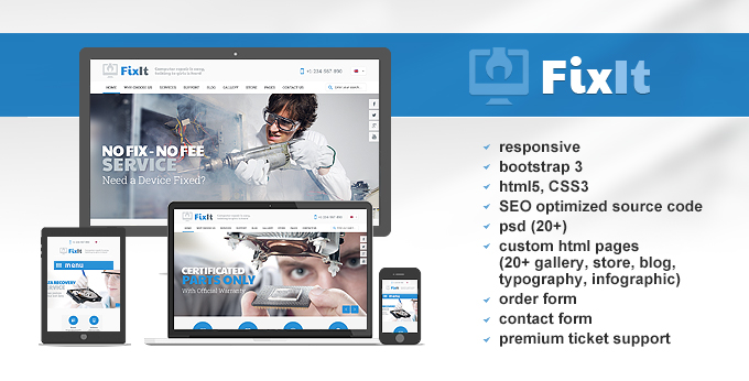 computer repair website template screenshot