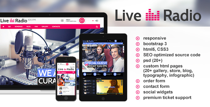 Live Radio html5 template's preview image