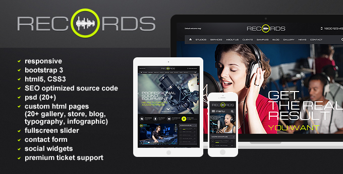 Records HTML 5 responsive template image