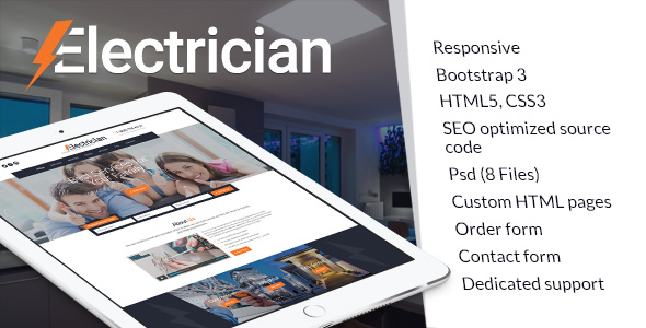 Electrician website template image