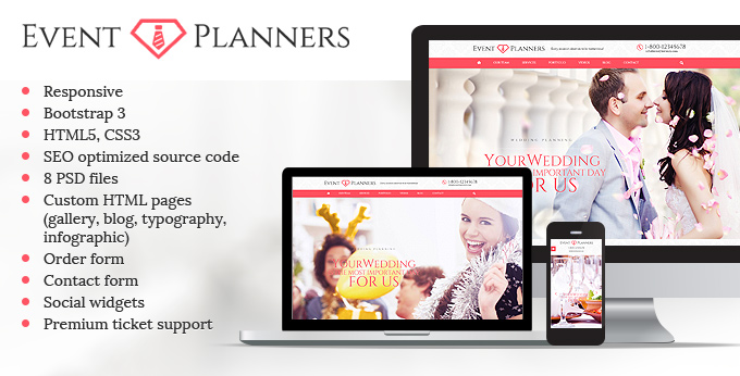 Event Planners website template image