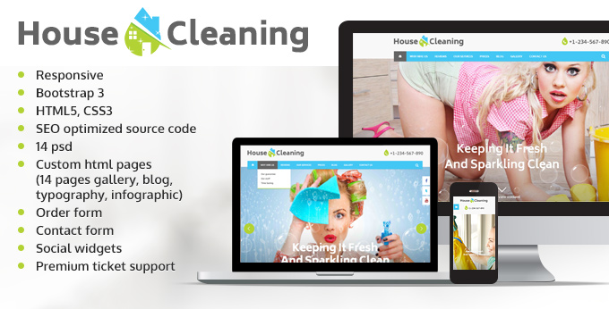 Cleaning services responsive themes image